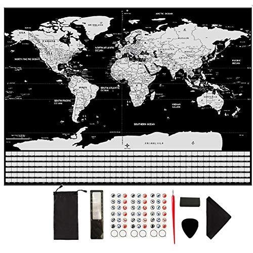 GUIFIER Weltkarte zum Rubbeln Silber - Große Rubbel-Landkarte,Rubbel-Weltkarte mit Fahnen Poster Reisekarte Welt Weltkarte Abkratzen perfekte Geschenkidee für Reisende (Schwarz/XXL 82,5 x 59,5 cm)