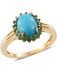 Arizona Sleeping Beauty Turquoise Oval 1.45 Ct, Kagem Zambian Emerald Ring in 14K Gold Overlay Sterling Silver 1.750 Ct.