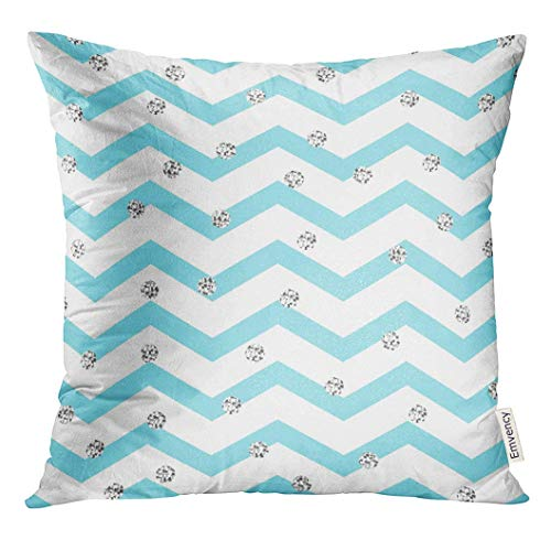 Throw Pillow Cover Chevron Zigzag Blue and White with Silver Shimmer Polka Dots Geometric Monochrome Stripe Spots Decorative Pillow Case Home Decor Square 18x18 Inches Pillowcase Polka Rose Square