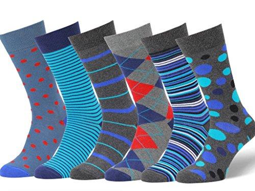 Easton Marlowe 6 Paar Fein Gemusterte Kleidersocken, 6 pairs, charcoal/gray/blue - blues/teal/bright red, Gr. 39 - 42 EU Schuhgröße