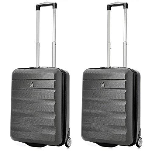 Aerolite 55x40x20 Tamaño Máximo de Ryanair y Vueling ABS Trolley Maleta Equipaje de Mano Cabina Ligera con 2 Ruedas, 2 x Gris Oscuro