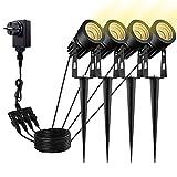 Gartenleuchte, GreenClick Gartenbeleuchtung mit Erdspieß, IP65 Wasserdicht LED COB Gartenstrahler mit Stecker, 3000K Warmweiß 3W 1080 Lumen LED Gartenleuchten Gartenlampe Außenleuchte Spotbeleuchtung