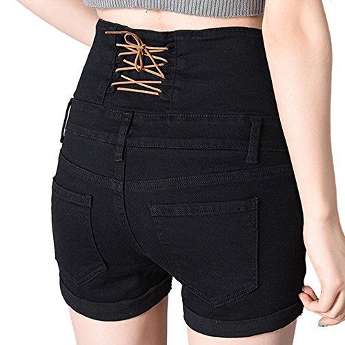 Looseplus Damen Jeansshorts Normale Bundhöhe Umgekrempelte Plus Size Destroyed Hotpants Denim Shorts Schwarz2