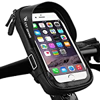 Bicycle Handlebar Bag Phone Holder Pouch, Waterproof Mobile Phone Mount Universal Motorcycle Bike Tope Tube Frame Bag for 3.5-6.0 in Smartphone with 360°Rotatable Cycling Bag