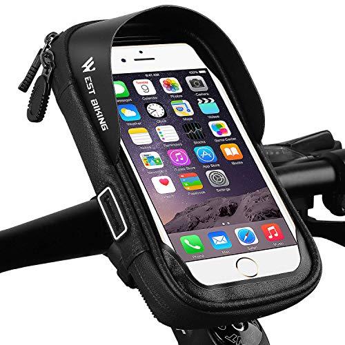 WESTGIRL Fahrrad Lenkertasche, Wasserdicht Touchscreen Handyhalterung Universal 360° Drehbar Fahrrad Rahmentasche für Smartphone bis zu 6 Zoll (schwarz)