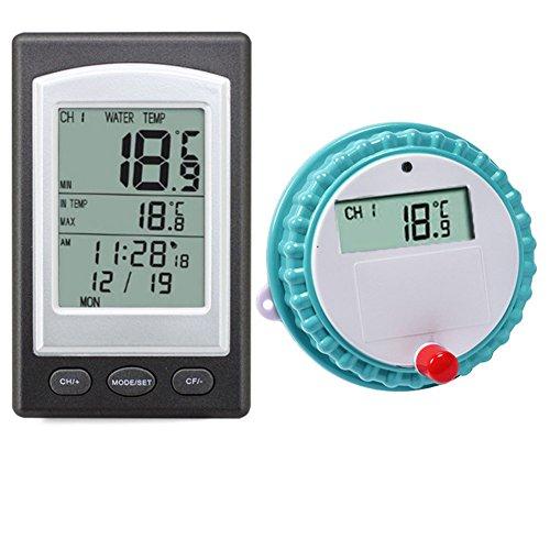 ASOSMOS Wireless Thermometer Teich- und Poolthermometer mit LCD-Empfänger Wasserdicht Schwimmbadthermometer für Swimming Pool Spa Teich Oder Whirlpool