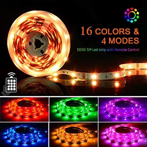 LED Strips Lights 5M, SHINELINE 16.4Ft RGB SMD 5050 Led Dimmer Light Strip with 24 Keys Remote Control and Power Supply for Home Kitchen Wedding Party DIY Decoration.
