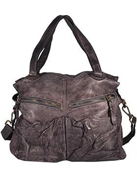 Rialto - Vintage Leder Henkeltasche Satchel Bag Used-Look Beutelform MEDITERRAN URBAN BAG Damen Handtaschen Schultertaschen...