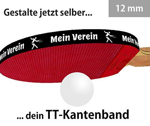 3 STK. Tischtennis Kantenband 12 mm schwarz mit eigenem Text