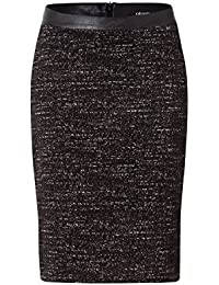 Olsen Black & Cream Textured Skirt