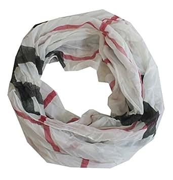 Brettony - Loopschal stylischer Schlauchschal Tuch kariert Crushed and Crinkled mit edlem Streifen aus Baumwolle und Seide 150 x 40 cm