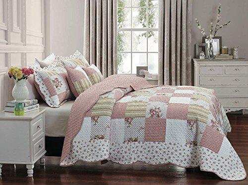 Colcha vintage con diseño patchwork floral, colcha con 2 fundas de almohadas (Maison), 100% algodón, matrimonio