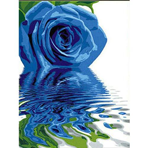 CAMZYGK Malen nach Zahlen Wohnzimmer Blue Rose Anfänger Erwachsene Kinder Handgefüllte Dekoration 40X50Cm Kri82 @ Frameless