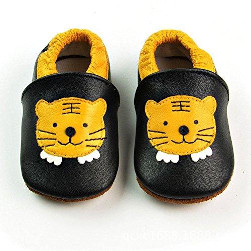 Vesi-Chaussures Bébé Cuir Souple Chaussons Premiers Pas Respirant pour Garçon Fille Nourrisson Efant Tigre Taille XL:18-24 Mois