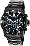 Invicta Men's Quartz Watch with Black Dial Chronograph Display and Black Stainless Steel Bracelet 0076
