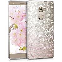 kwmobile Funda para Huawei Mate S - Case para móvil en TPU silicona - Cover trasero Diseño Sol hindú en rosa claro blanco transparente