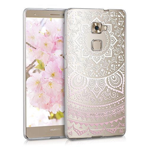 kwmobile Huawei Mate S Hülle - Handyhülle für Huawei Mate S - Handy Case in Rosa Weiß Transparent
