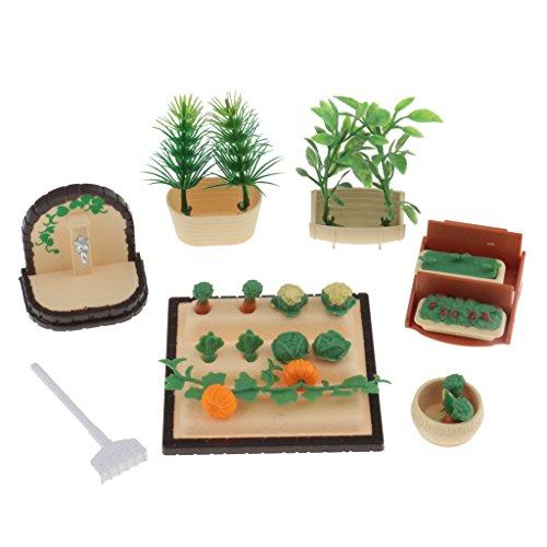 MagiDeal 1:12 Puppenhaus Miniatur Gemüse Pflanzen Set für Puppenstube Garten Dekoration (Miniatur-gemüse-garten)