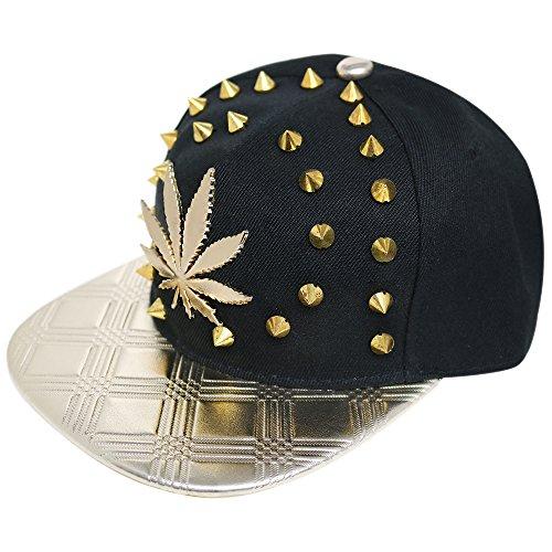 unisex-punk-hip-hop-stud-spike-rivet-baseball-caps-variety-of-designs-available-shine-stud-leaf-blac