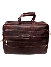 "AYS Stylish 15.3"" Genuine Pure Leather Laptop Sleeve Messenger Office Bag"