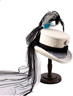 Sombrero con pluma Hilado negro para mujer, Corsé gótico victoriano Sombrero de novia con encaje negro y marfil...
