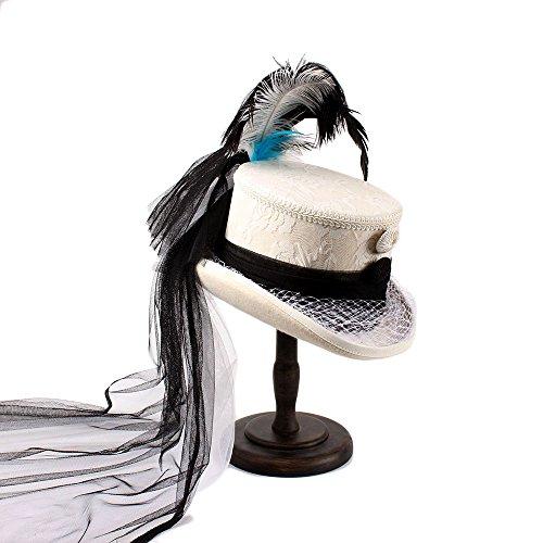 Viktorianischen Kostüme Korsett (BEITE- Viktorianisches gotisches Korsett-Schwarzes und Elfenbein-Spitze-Hochzeits-Hut-weiße Kappe Dame-Hut-flache Spitzenhut ( Farbe : Weiß , größe : 57cm)