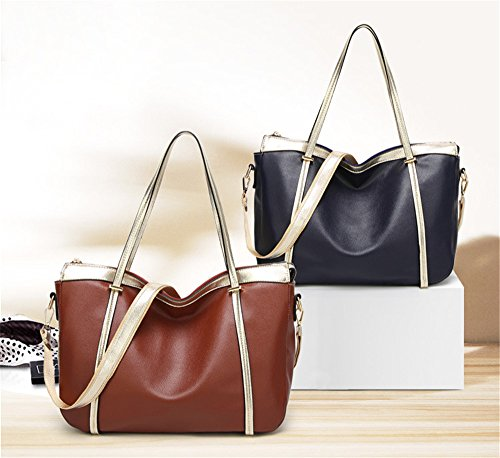 Anne, Borsa tote donna nero Red Dark Blue