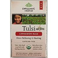 Organic India Tulsi Caffeine Free Tea, Cinnamon Rose, 18 Count
