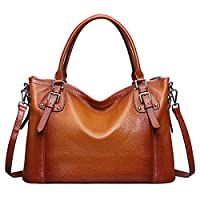 S-ZONE Womens Ladies' Vintage Genuine Soft Classic Leather Tote Hobos and Satchel Crossbody Shoulder Bags (Brown-Large)