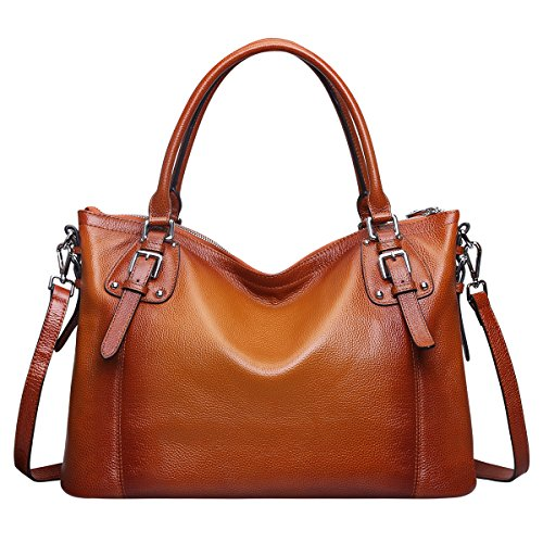 - 51ThaeExuxL - S-ZONE Womens Ladies' Vintage Genuine Soft Classic Leather Tote Hobos and Satchel Crossbody Shoulder Bags (Brown-Large)