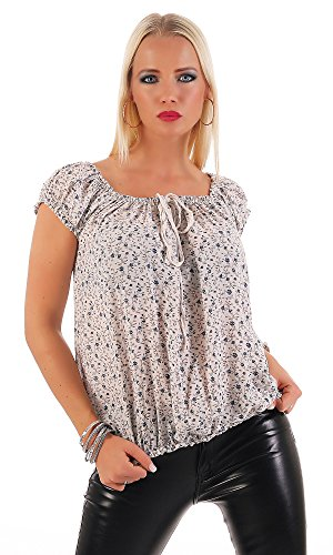 ZARMEXX Damen Kurzarmbluse Carmenbluse Oberteil Sommerbluse Shirt Tunika geblümt One Size Beige