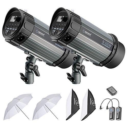 Neewer 600W Studio Strobe Blitz Fotografie Beleuchtung Kit: (2) 300W Monolicht, (2) Softbox, (1) RT-16 Funkauslöser, (2) 33 Zoll Studioschirm für Video Portrait Ort Aufnahmen (N-300W) Strobe Set