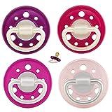 NIP Cherry Rundsauger Schnuller 4 Stück Set (2x2) (6 M +, Pink Lila)