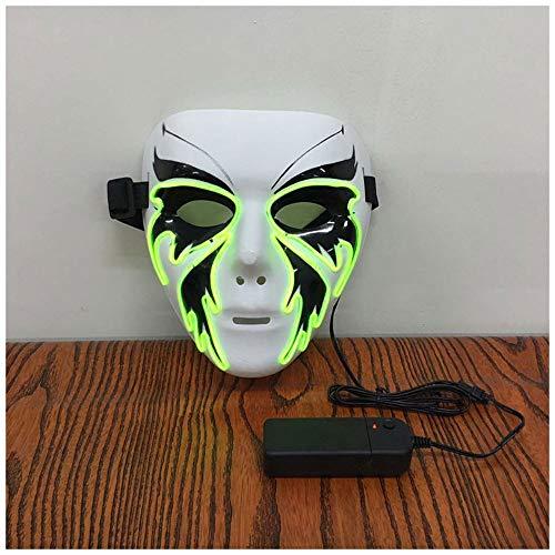 YaPin Kreative Street Dance Butterfly Butterfly V-förmige Glow Mask Halloween Luminous Ghost Dance Erwachsene Männer Und Frauen EL Fluoreszierende Maske