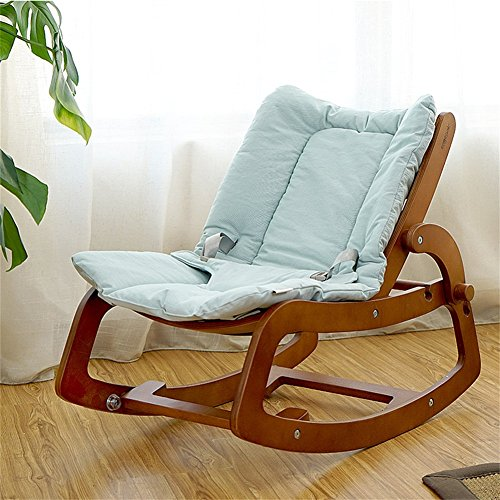 Huababy sedia a dondolo per bambini in legno massello multifunzionale sedia per l'equilibrio del bambino altalena per bebè baby bodyguard si applica a 0-12 anni baby blue pink (colore : blu)