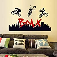 ZXFMT Wall Stickers Home Decor Extreme Sports Living Room Boy Bedroom Decals Bicycle Motocross Mural Bmx Self Adhesive Film