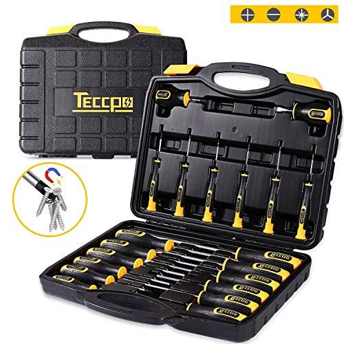 Destornilladores Universales, TECCPO 20Pcs Juego de Destornilladores, brocas Magnéticas Ranuradas Herramientas de Reparación, Destornillador Plano, Destornillador Phillips-THTC03H