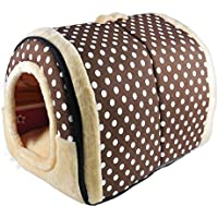 ANPI 2 en 1 Casa y Sofá para Mascotas, Lavable a Máquina Marron Puntos Blanco Casa Nido Cueva Cama de Perro Gato Puppy Conejo Antideslizante Plegable Suave Calentar Con Cojín Extraíble, Grande