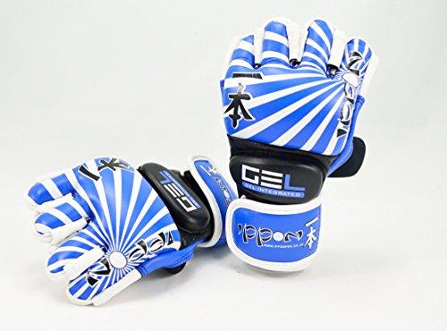 Ippon echtes Leder Open Finger Open Palm MMA ULTIMATE FIGHTING Handschuhe Muay Thai Power Data Grapple & Strike Handschuhe Wettbewerb Handschuhe Gym fiitness Supplies Sparring Gear mehrfarbig blau / weiß xl (Womens Boxing Handschuhe Und Wraps)