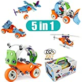 Model Building Blocks Toys Set Cars Airplane DIY Kits To Build 5-in-1 STEM Learning Toys Creative Stacking Build Model Set 132PCS Education Construction Engineering Gifts For Kids Boys And Girls Toys