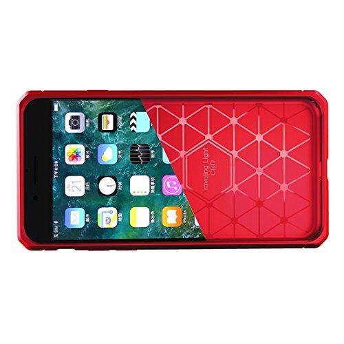 BING Für iPhone 6 / 6s, gebürsteter Carbon-Faser-Beschaffenheit Shockproof TPU schützender Abdeckungs-Fall BING ( Color : Red ) Red
