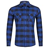 Space Climber Men's Shirts Casual Dress Formal Long Sleeve Regular Slim Fit Flannel Cotton Plaid Checkered for Winter Autumn Spring Blue XL