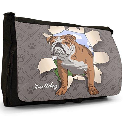Spezzare cani grande borsa a tracolla Messenger Tela Nera, scuola/Borsa Per Laptop Bulldog Breaking Through