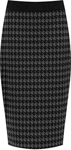 WearAll - Damen Übergröße hundezahn schlitz bleistiftrock - Grau - 52-54
