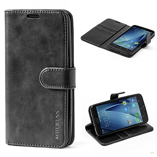 Mulbess (Vintage bookstyle) Premium Handy Schutzhülle Ledertasche im Kartenfach für ASUS ZenFone 2 ZE551ML (5,5 Zoll) Tasche Hülle Leder Etui Schale,Schwarz