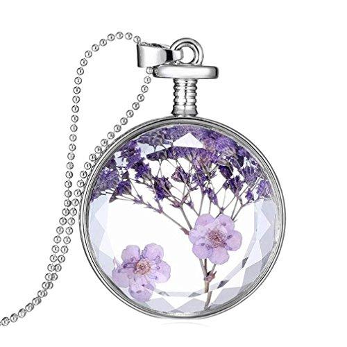 Collar para mujer, FEITONG Mujer flor seca Transparente Cristal Botella de deseo Colgante Collar (F)