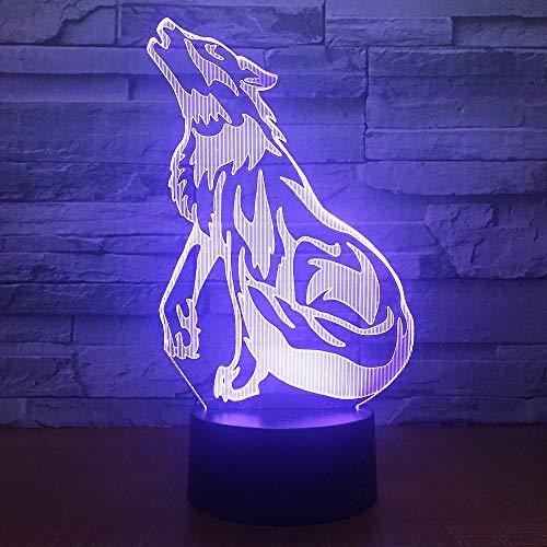 3d Lampe 3D Led Nachtlicht Wolf Howl Mit 7 Farben Licht Für Hauptdekoration Lampe Erstaunliche Sichtbarmachung Optische Täuschung Halloween Geschenk