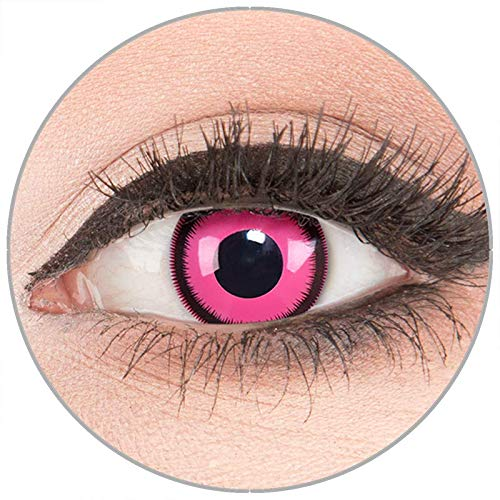 Farbige Kontaktlinsen zu Fasching Karneval Halloween in Topqualität von 'Glamlens' ohne Stärke 1 Paar Crazy Fun rosa 'Pink Lunatic' mit Behälter (Crazy Pink Kostüm)