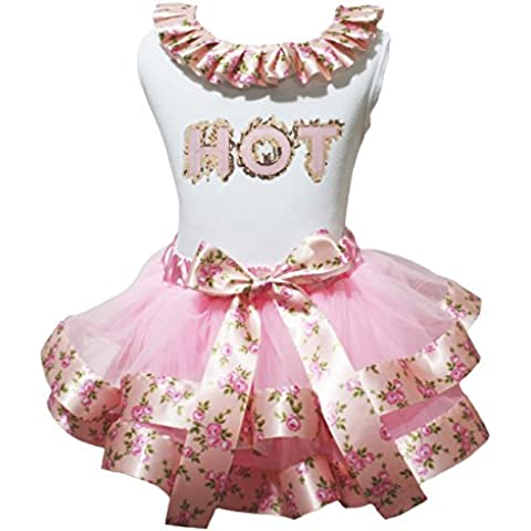 Summer lentejuelas Hot camisa rosa cinta pétalos Falda Outfit nb-8y