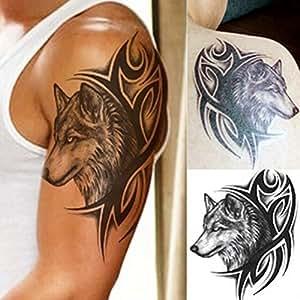 Macngrid Water Transfer Fake Tattoo Waterproof Temporary Tattoo Sticker Men Women Wolf Tattoo Flash Tattoo Fashion